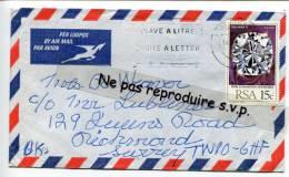 - Cover From R.S.A. Par Avion, Air Mail, Timbre Seul 15 C, Pour Richmond, Survey,  Scans. - Afrique Du Sud (1961-...)