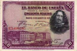 El Banco De Espana - Cincuenta Pesetas - Madrid 15 De Agosto De 1928 - Serie E - Velazquez - [ 1] …-1931 : Prime Banconote (Banco De España)