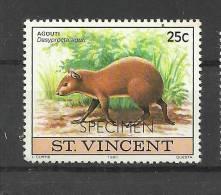 SAN VICENTE SPECIMEN MUESTRA FAUNA AGOUTI MAMIFERO - Stamps