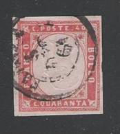 ITALIA Regno-1861: Effigie Vittorio Emanuele II° In Rilievo-valore Usato Da 40 C. Rosso VARIETA´ EFFIGIE CAPOVOLTA. - 1861-78 Vittorio Emanuele II