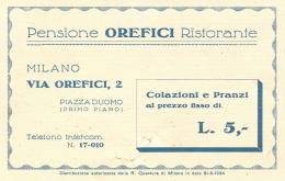 OREFICI, MILANO, RISTORANTE PENSIONE,  CARTOLINA PRESENTAZIONE, 1935, - Ristoranti