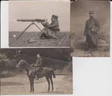 Carte Photo Provenant D'un Album Intitulé.5 Escadron Train Fontainebleau.mitrailleuse. Lot De 3 - Guerre 1914-18