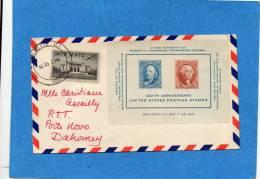MARCOPHILIE-lettre Vilmette - Usa -1947 Bloc N°8  100th Anniversary  Us Postage -Pour Dahomey - Vereinigte Staaten