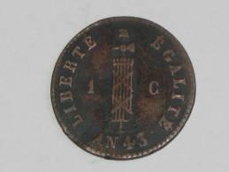 1 Centime 1846 An 43 - République D'Haiti. - Haïti