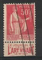 MERCURE 50c Vignette LE JOURNAL DE L 'ELITE, L 'ART VIVANT. - Marcophilie (Timbres Détachés)