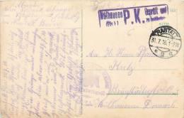 SIEGEL BRIEFSTEMPEL RESERV LAZARETT SCHLOSS MÜLHAUSEN GEPRÜFT ZU BEFÖRDERN ELSASS P.K. CENSURE MILITAIRE RASTATT - Guerre De 1914-18