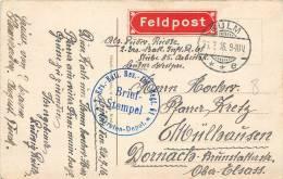 SIEGEL BRIEFSTEMPLE BATAILLON REGIMENT REKRUTEN DEPOT FELDPOST MÜLHAUSEN GEPRÜFT ZU BEFÖRDERN ELSASS P.K. KRANKENHAUS - Usati