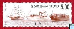 Sri Lanka Stamps 2012, Steamship, Sailship, Ships, Ship, Institute Of Chartered Shipbrokers (ICS), MNH - Sri Lanka (Ceylon) (1948-...)