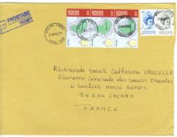 VEND TIMBRES DU TOGO N° 2846 + 2849 +3164 EN BANDE DE 3 , SUR LETTRE, COTE : ?,?, !!!! - Togo (1960-...)