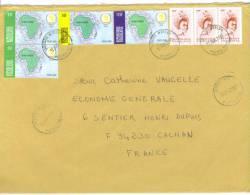 VEND TIMBRES DU TOGO N° 2854 EN BANDE DE 3 + 3159 + 3160 EN PAIRE + 3162 , SUR LETTRE , COTE : ?,?,?, !!!! - Togo (1960-...)