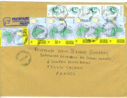 VEND TIMBRES DU TOGO N° 2851 EN BANDE DE 4 + 3159 X 8 DONT 1 PAIRE ET 1 BANDE DE 3 , SUR LETTRE , COTE : ?,?,?,?, !!!! - Togo (1960-...)