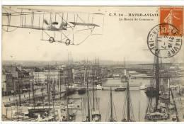 Carte Postale Ancienne Le Havre Aviation - Le Bassin Du Commerce - Avions - Le Havre