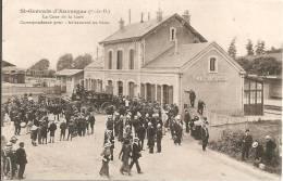 63 - ST GERVAIS D'AUVERGNE, (POMPIERS) LA COUR DE LA GARE - CORRESPONDANCE POUR CHÂTEAUNEUF LES BAINS - Saint Gervais D'Auvergne
