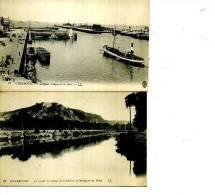 50 CHERBOURG LOT 2 CARTES   LL N ° 17 ET 89 1905 LE QUAI CALIGNY BATEAUX ET CANAL DE LA DIVETTE - Cherbourg