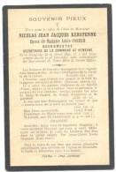 Faire-part De Décès De Mr. Nicolas KERSTENNE - Bourgmestre De KEMEXHE - 1842/1906 (sf65) - Obituary Notices