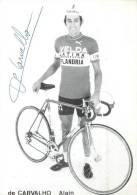 Alain DE CARVALHO, Autographe Manuscrit, Dédicace. 2 Scans. Flandria Latina Velda - Cycling