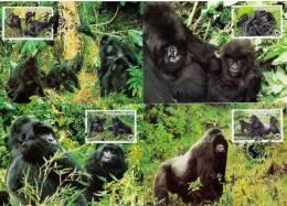 WWF 1985 Ruanda/Rwanda Berggorilla/Mountain Gorilla Set Of 4 Maxicards - Maximum Cards