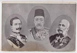 MILITARIA WAR 1914-18 ROYAL FAMILY THREE KINGS AUSTRIA-HUNGARIAN MONARCHY STAIN OLD POSTCARD 1915. - War 1914-18
