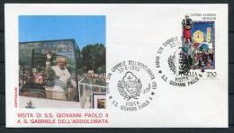 1985 Italy Pope John Paul 2 San Gabriele Dell 'Addolorata Visit Cover - Popes