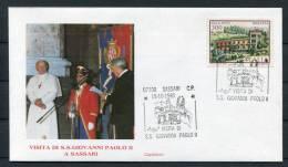 1985 Italy Pope John Paul 2 Sassari Visit Cover - Popes