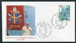 1985 Italy Pope John Paul 2 Atri Visit Cover - Popes