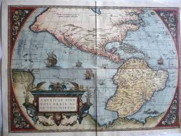 CARTOGRAPHIE ANCIENNE : LES AMÉRIQUES (FAC-SIMILÉ Editions Sequoia 1964) / 39,5 X 53,5 Cm / TBE - Cartes Géographiques