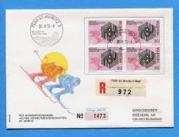 Suisse, Switzerland, Schweiz, R-FDC, 1973, Ski-WM St. Moritz Mit Ortswerbestempel - FDC