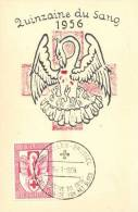 Belgium 1956 Mi. 1035 Maximum Card 14-Jan-1956, Red Cross Blood Giving, Pelican Feeding
