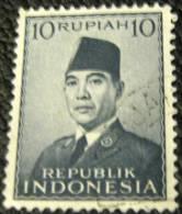 Indonesia 1951 President Sukarno 10r - Used - Indonesië
