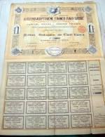 Action De 100 Frs / S.A. Electro-Aseptogène Franco-Italo-Suisse / Bruxelles 1900 - Elettricità & Gas