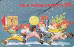 Finland, D113, Christmas Gnomes, 2 Scans.  Chip : Gem1 - Finlande