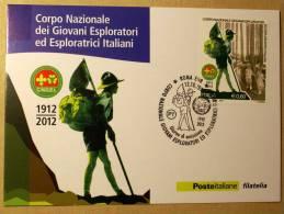 ITALY 2012 - CENTENARY SCOUT ORGANISATION , OFFICIAL CARD FDC - Cartas Máxima