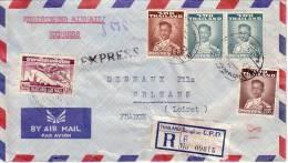 THAILANDE-LETTRE RECOMMANDEE EN EXPRESS PAR AVION DE BANGKOK DU 24-1-1961. - Thaïlande