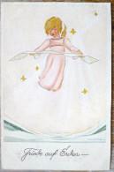 Litho Illustrateur MUTTER MULLER  FRIEDE AUF ERDEN Ange Voyagé 1922 Timbre Helvetia Cachet Brugg Aargau - Mutter, K.