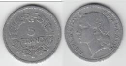 PAS COURANTE  **** 5 FRANCS 1952 LAVRILLIER - ALUMINIUM **** EN ACHAT IMMEDIAT !!! - France