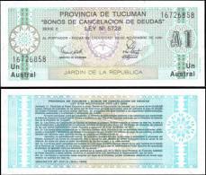ARGENTINA Tucuman Province 1 Austral Banknotes UNC - Bankbiljetten
