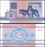 Belarus 1992 5 Rublei Dog Banknotes Uncirculated UNC - Bankbiljetten
