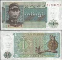 Burma 1 Kyat Banknotes Uncirculated UNC - Bankbiljetten