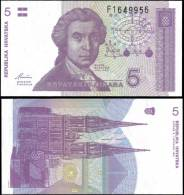 Croatia 1991 5 Dinara Tower Banknotes Uncirculated UNC - Bankbiljetten
