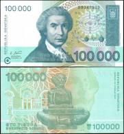 Croatia 1993 100000 Dinara Banknotes Uncirculated UNC - Billets