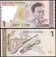 Kyrgyzstan 1 Som Musical Banknotes Uncirculated UNC - Bankbiljetten