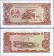 Laos 20 Kip Tank Car Army Banknotes Uncirculated UNC - Bankbiljetten