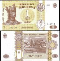 Moldova 2005 1 Leu Banknotes Uncirculated UNC - Bankbiljetten