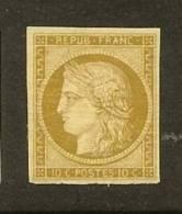 """FRANCE N°1 """"CERES 10c BISTRE-JAUNE"""" NEUF X TB A VOIR - 1849-1850 Cérès"""