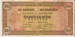 BILLETE DE ESPAÑA DE 50 PTAS DEL 20/05/1938 SERIE D CALIDAD MBC (BANKNOTE) - [ 3] 1936-1975: Regime Van Franco