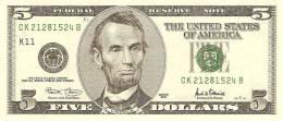 """USA 5 DOLLARS 2001 PICK 510 """"K""""  UNC - Biljetten Van De  Federal Reserve (1928-...)"""