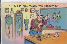 Cpa Usa, Humorous,humour,illustrateur, Horloger, Thank You Oerapor - Other Topics