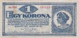 1 KORONA Budapest 1920, Banknote, Umlaufschein - Ungarn