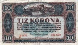 10 KORONA Budapest 1920, Banknote, Umlaufschein - Ungarn