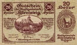 20 Heller Gutschein Der Stadtgemeinde Allensteig 1921, Banknote, Umlaufschein - Oesterreich